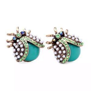 NWT•Betsey Crystal/faux pearl Beetle post earrings